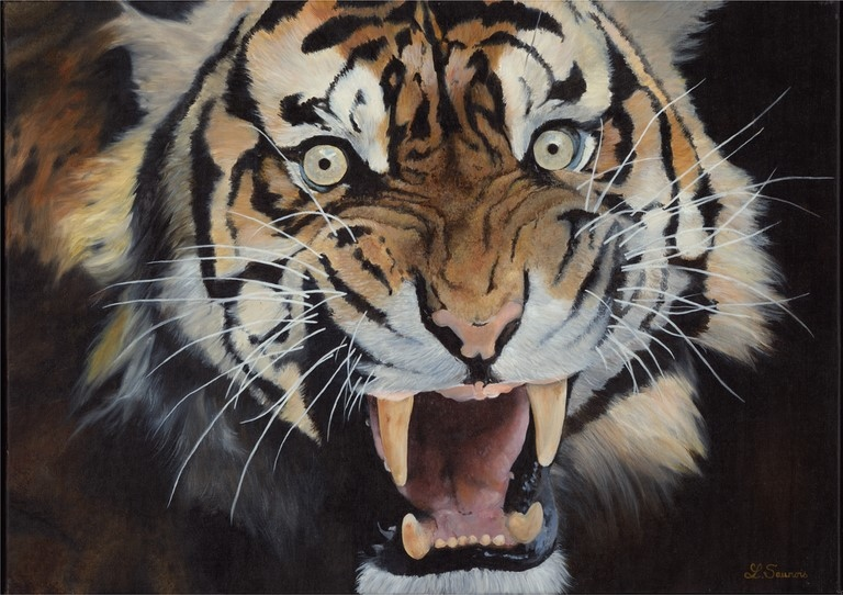 Tiger painting by Laurence Saunois, wildlife artist